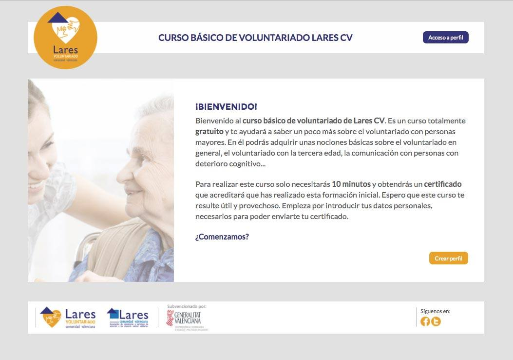 cursovoluntariado - Fórmate como voluntario con el curso gratuito online Lares Comunidad Valenciana