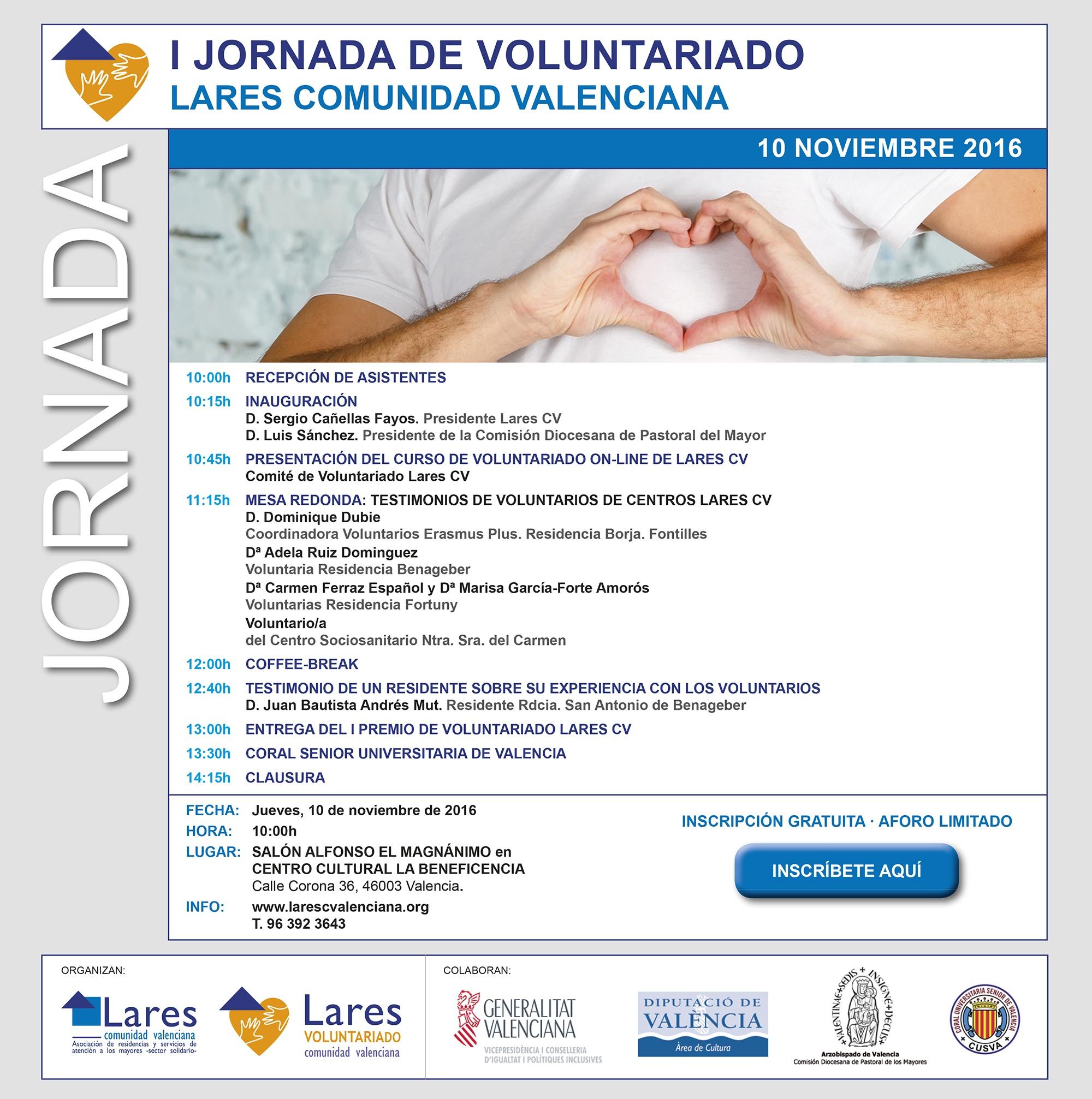 Invitación a la I Jornada de Voluntariado Lares CV