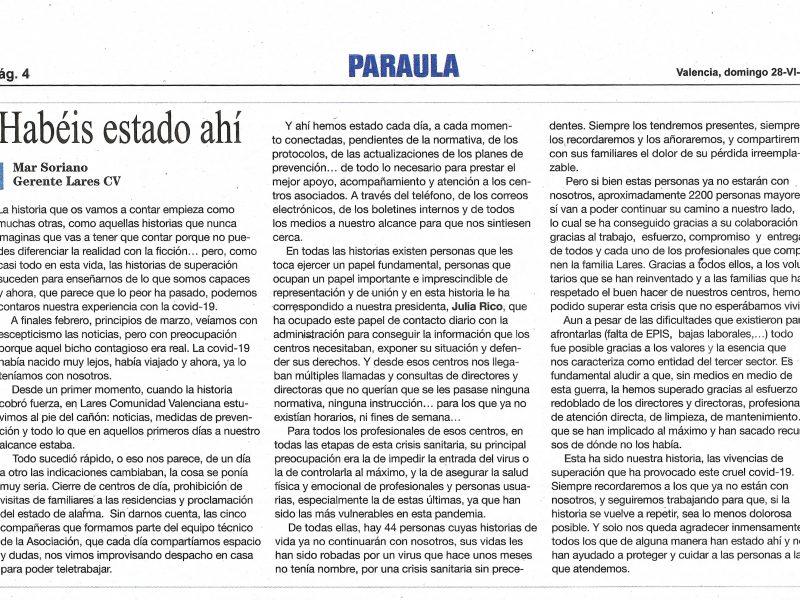 Noticia Lares CV en Paraula 28 06 2020 800x600 - Residencias para personas mayores y centros de día en Comunidad Valenciana